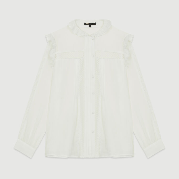 Blouse in cotton voile with lace : Ready to wear color White