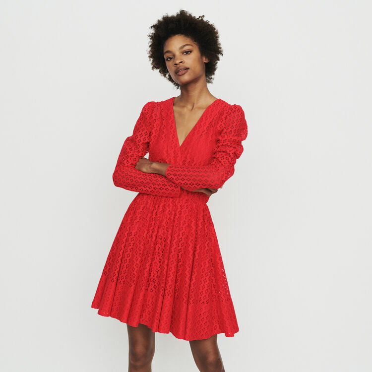 Dress in geometric guipure : Dresses color Red
