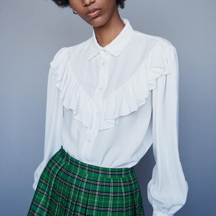 Ruffled shirt : Tops & Shirts color White