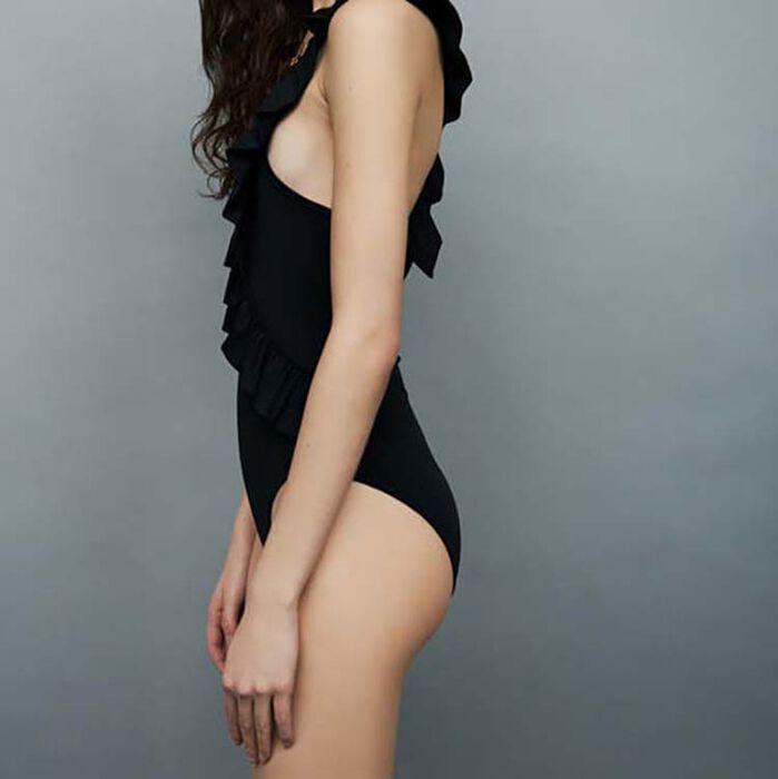 Ruffled swimsuit : Swimsuit color Black 210