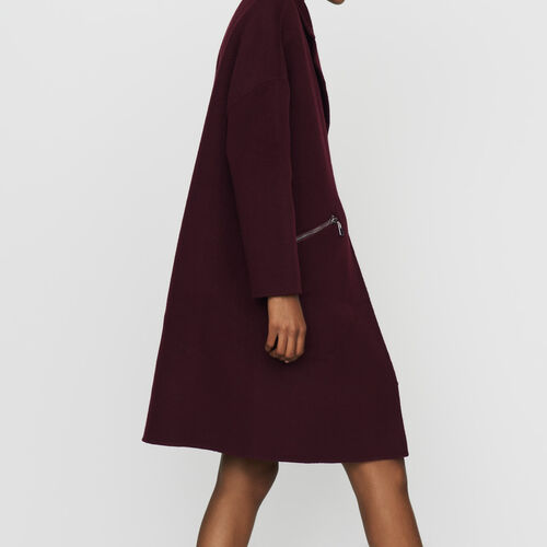 Coat in double-face wool : Ready to wear color Burgundy