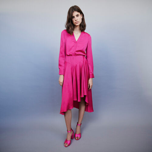 Asymmetrical satin dress : Dresses color FUCHSIA