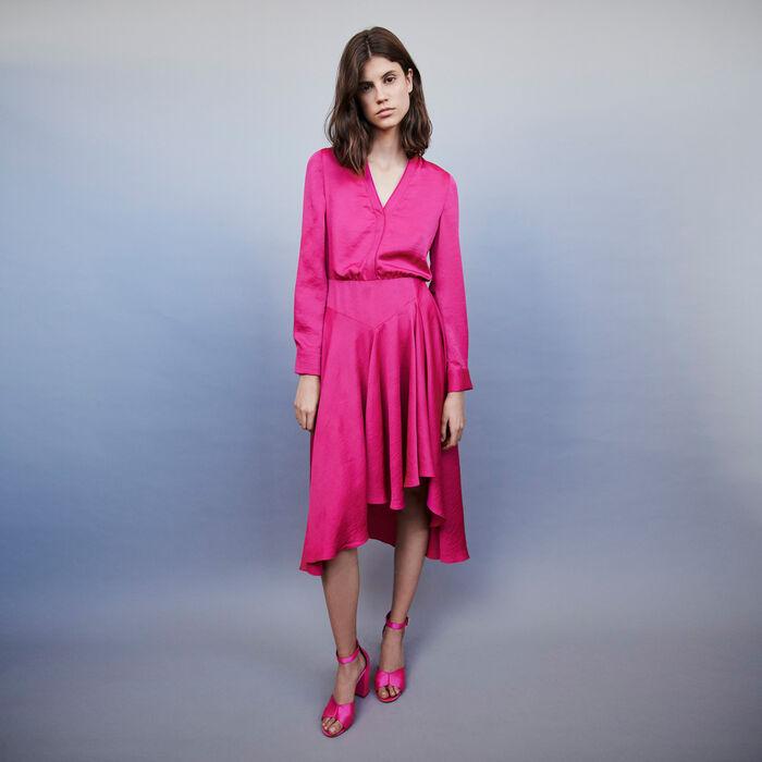 Asymmetrical Satin Dress by Maje