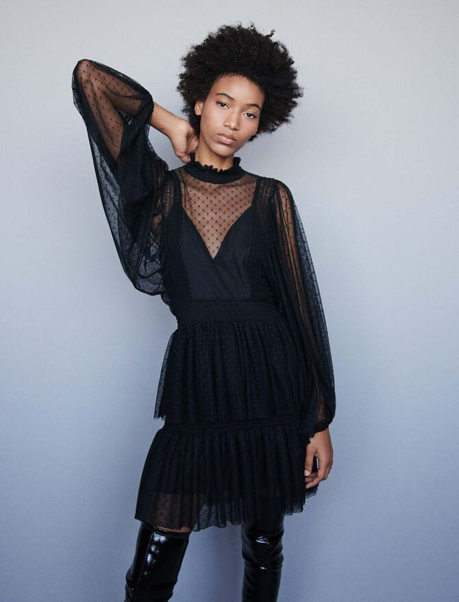 Plumetis tulle dress with ruffles -  - MAJE