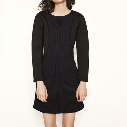 A-line dress with knit yoke : Dresses color Black 210
