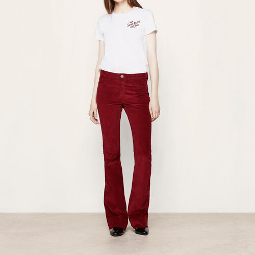 Corduroy trousers : Trousers & Jeans color Burgundy