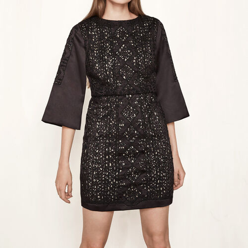 Short satin dress embroidered with beads : Dresses color Black 210