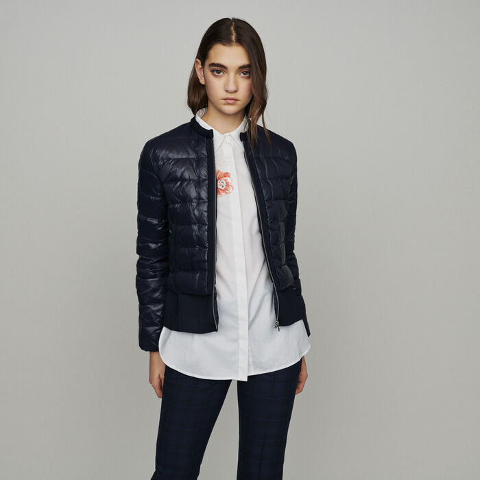 Lightweight down jacket with basque : Coats & Jackets color Navy