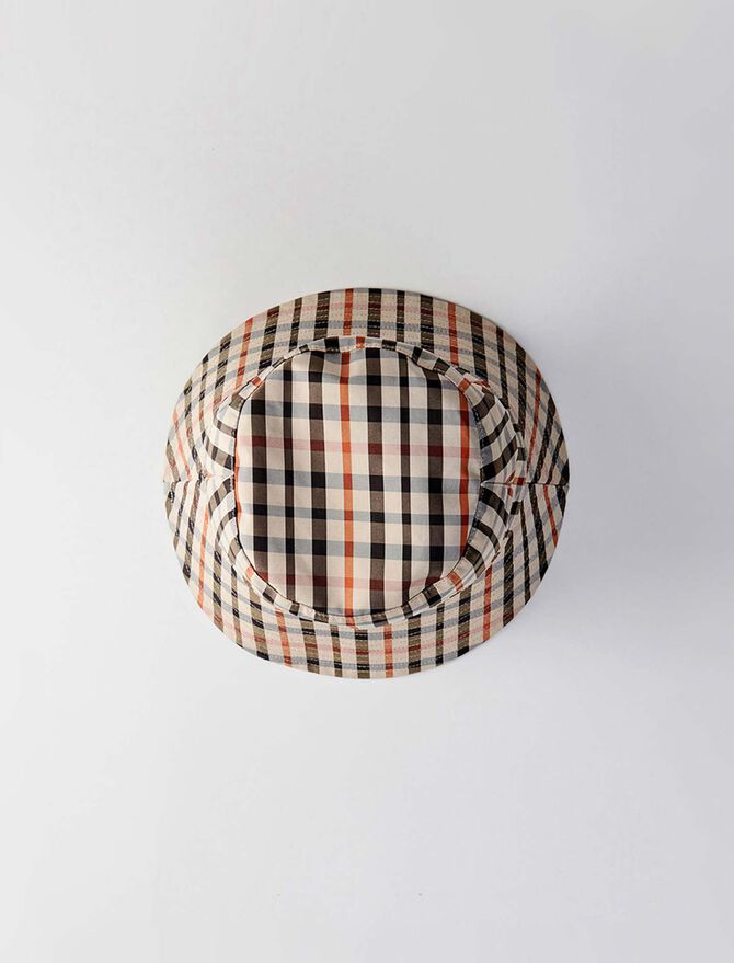 Reversible cotton bob with plaid pattern - Hats and bobs - MAJE