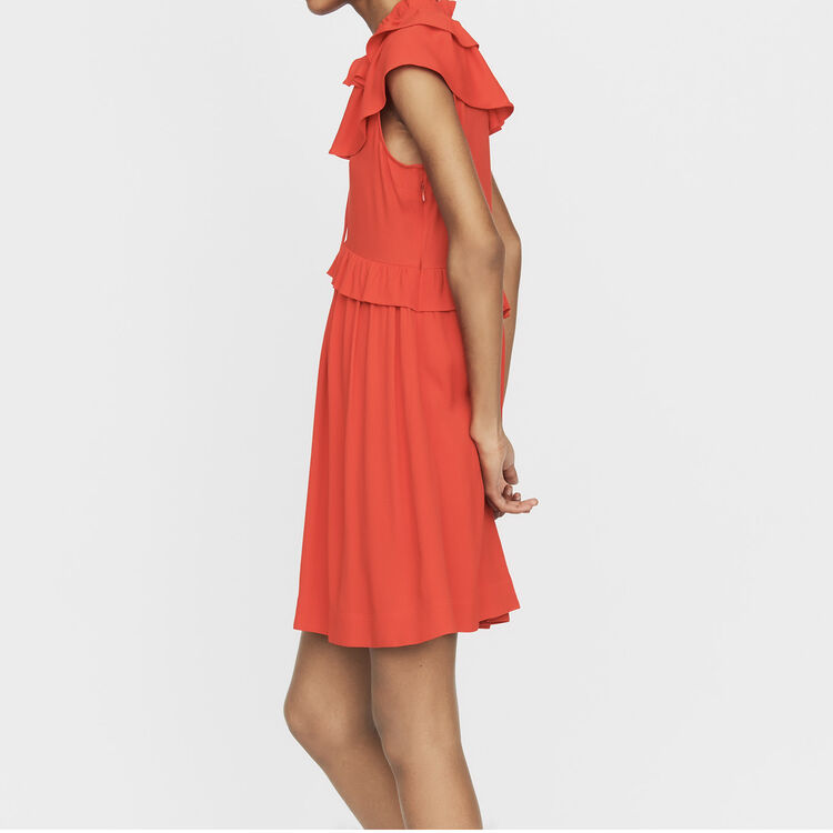 Sleeveless crepe dress : Ready to wear color ROUGE