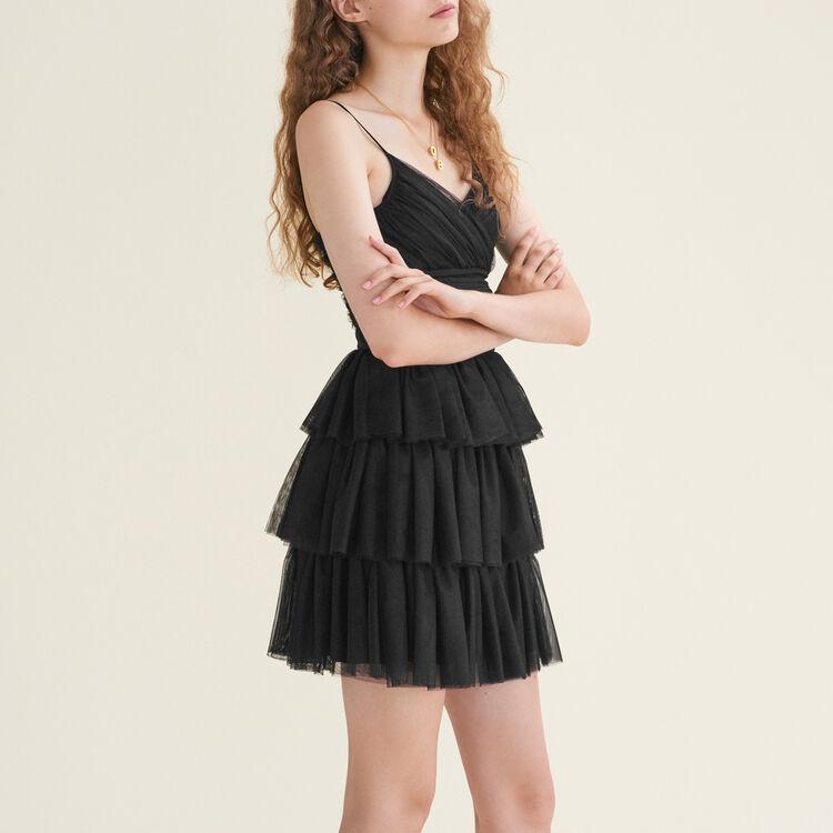Short frilled tulle dress : Dresses color Black 210