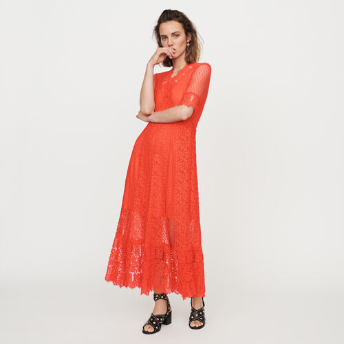 1b13c3cf45a4 Dresses true Long Swiss dot dress with daisy lace   Dresses color Coral