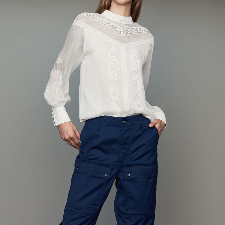 Ruffled shirt with embroidery : Tops color Black 210