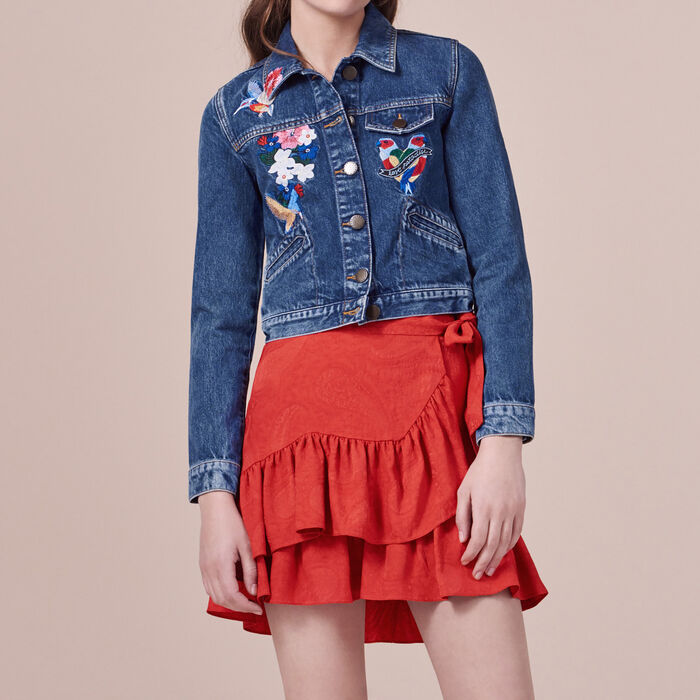 Embroidered denim jacket -  - MAJE