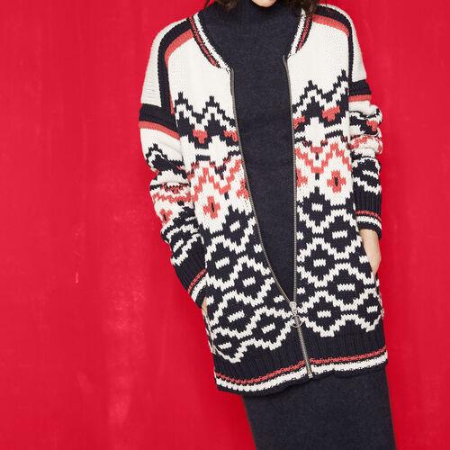 Tricolour jacquard knit cardigan : Sweaters & Cardigans color Jacquard