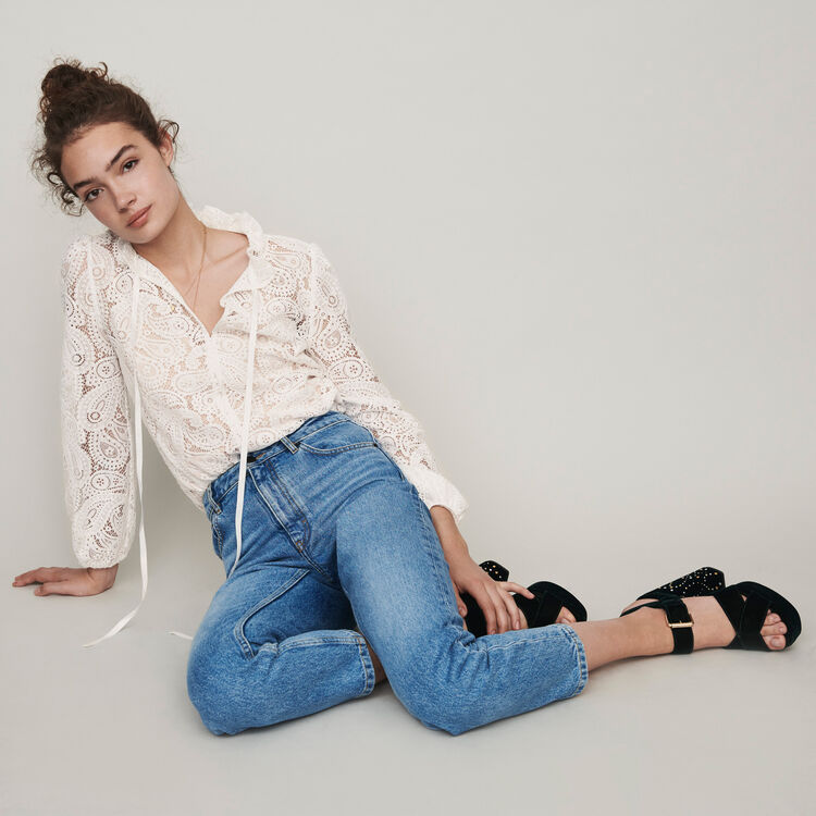 High-waisted jeans : Trousers & Jeans color Blue