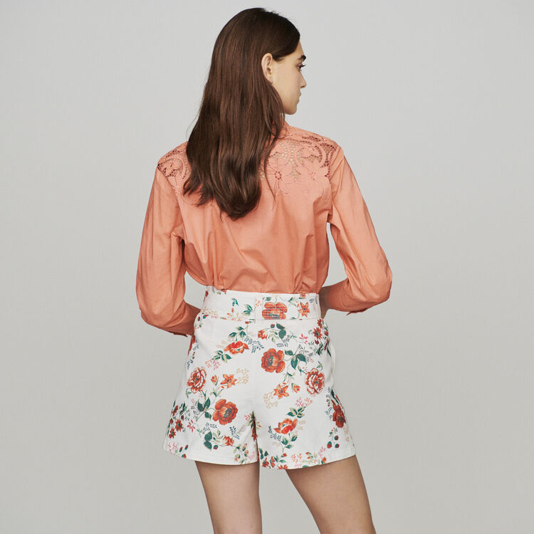 Floral-print denim shorts : Skirts & Shorts color PRINTED