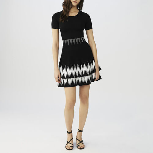 Ruffled knit dress : Dresses color Black 210