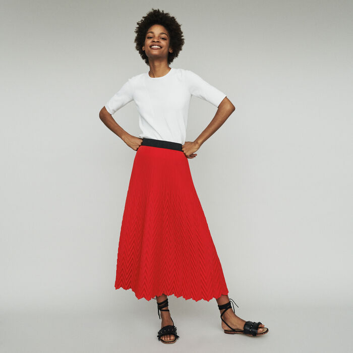 Long skirt with chevron pleat : Skirts & Shorts color Red
