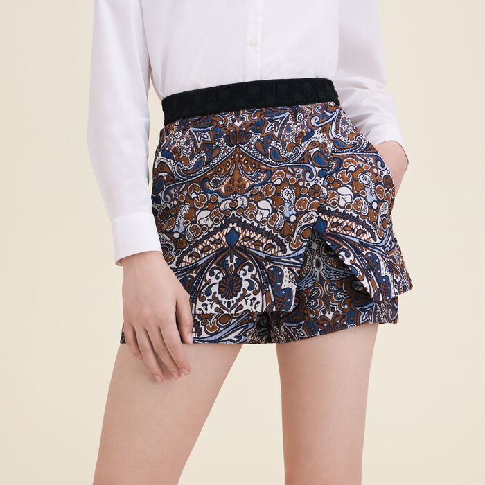 2-in-1 effect jacquard shorts -  - MAJE