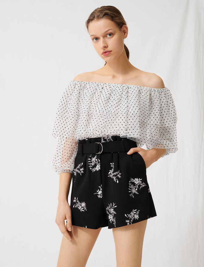 Embroidered belted crêpe shorts -  - MAJE