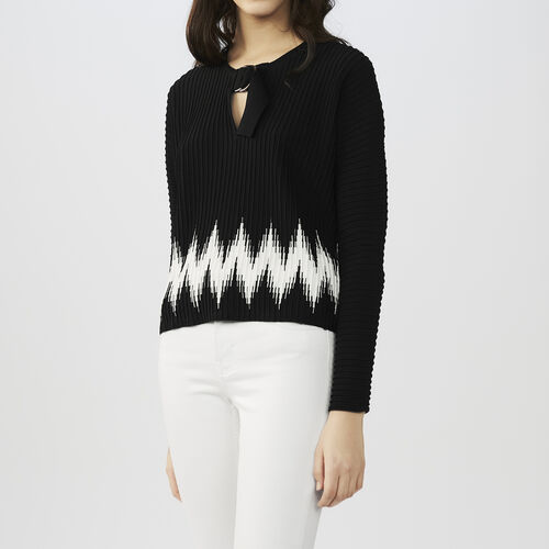 Novelty knit sweater : See all color Black 210
