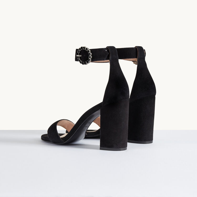 Suede heeled sandals : Accessoires color Black 210