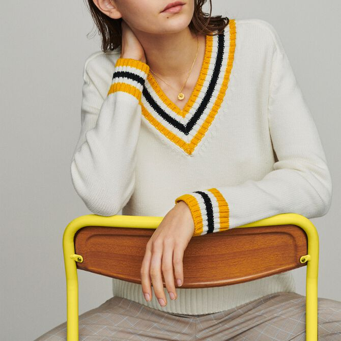 Sweater with contrasted bands - Paris under the palmtrees - MAJE