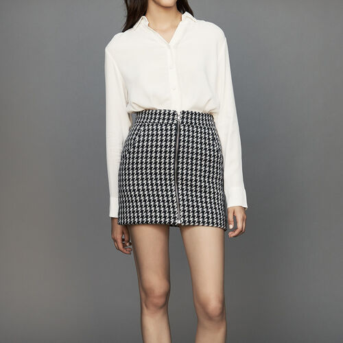Short houndstooth skirt : Tartan color Jacquard