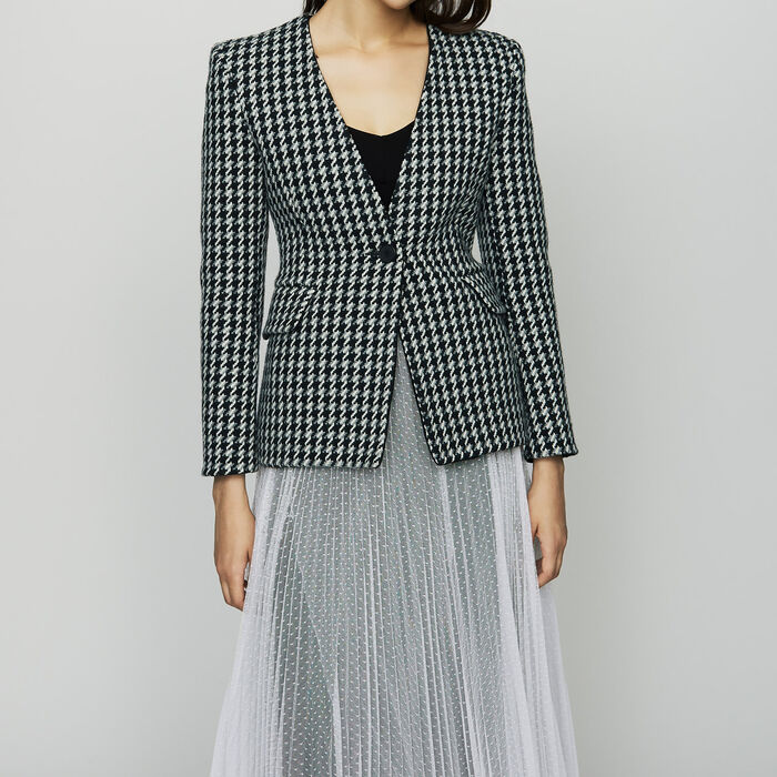 Wool houndstooth jacket : Blazers color Jacquard