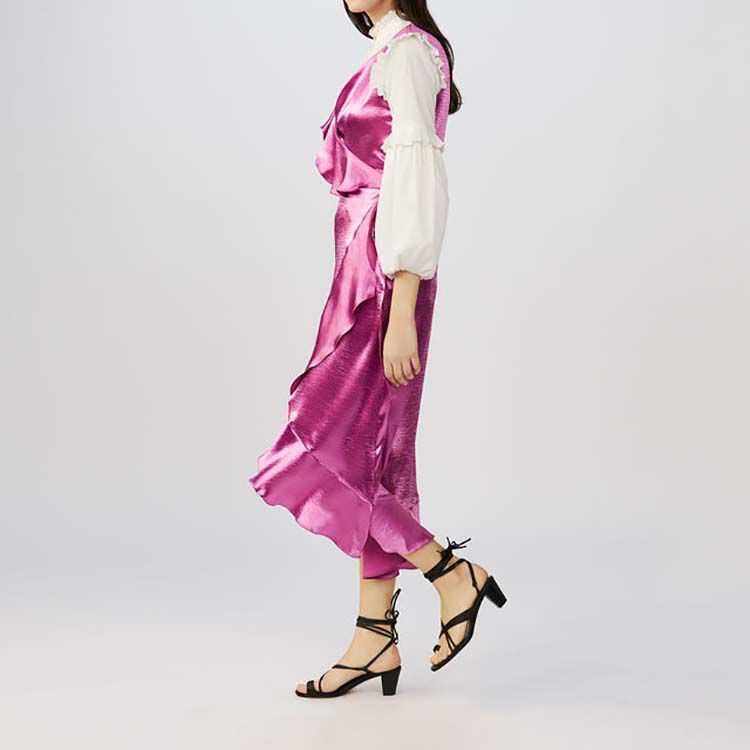 Ruffle satin evening dress : Dresses color Fuschia