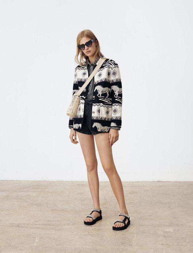 Reversible jacquard coat - Blazers - MAJE