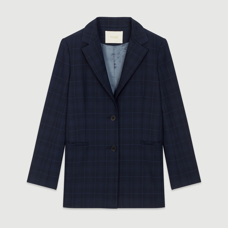 Jacket with check print : New in : Summer Collection color Navy