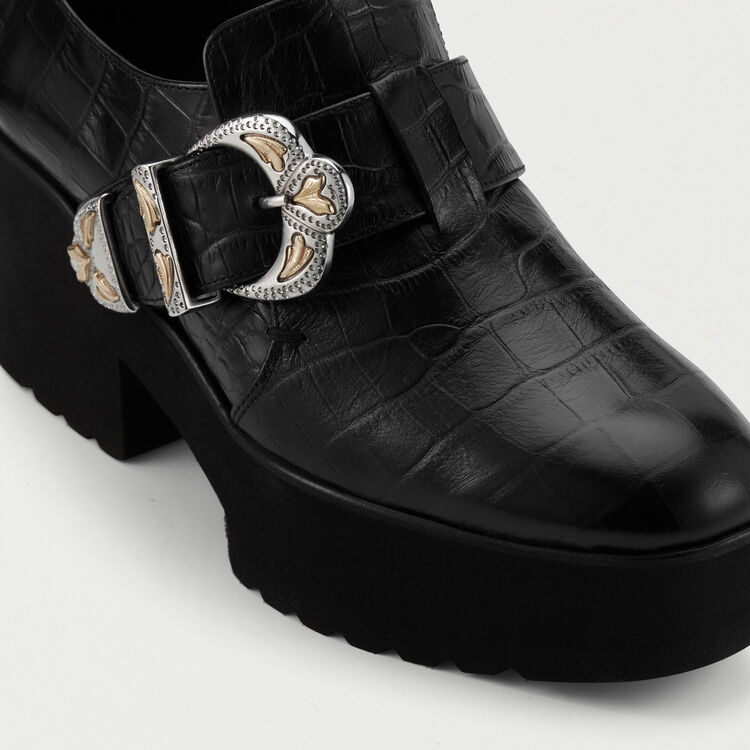 Leather loafers with buckle : Flat shoes color Black 210