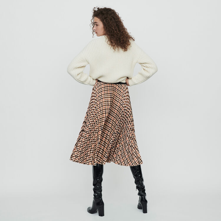 Elasticated pleated plaid skirt : Winter collection color Brown