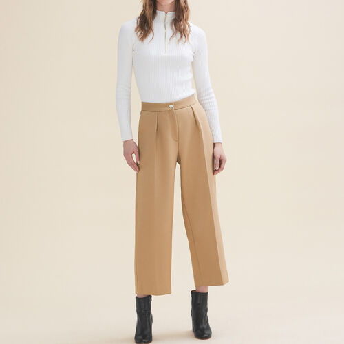 Wide tailored trousers : Trousers & Jeans color Camel