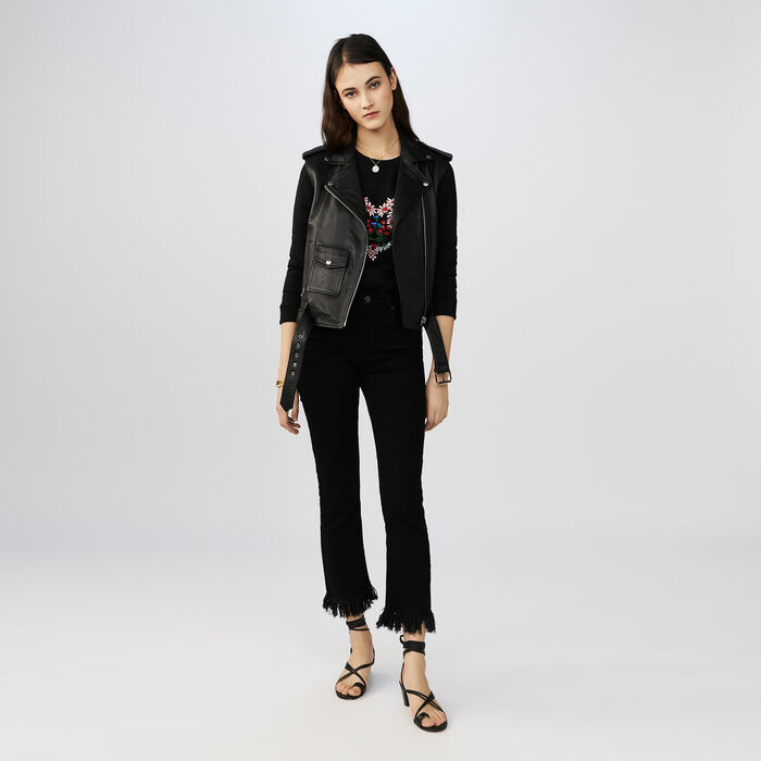 7/8 jeans with frayed hem : Jeans color Black 210