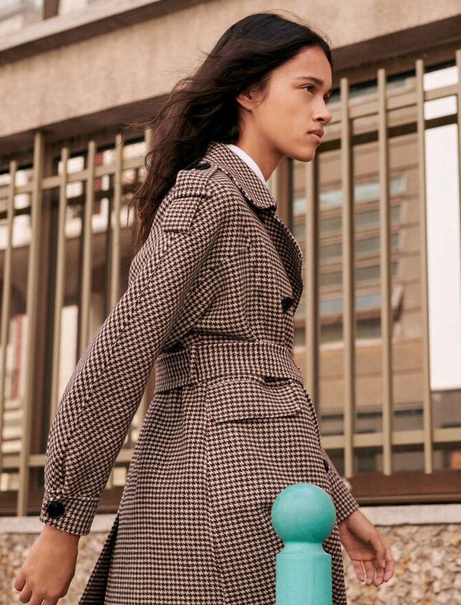 Belted dogtooth coat - New collection - MAJE