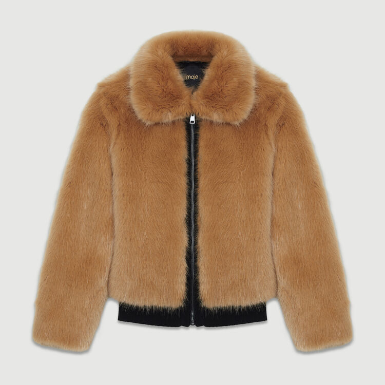 Cropped faux fur jacket : Jackets color Camel