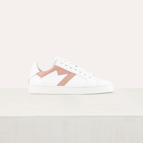 Leather sneakers with contrast M cutout : Shoes color Pale Pink