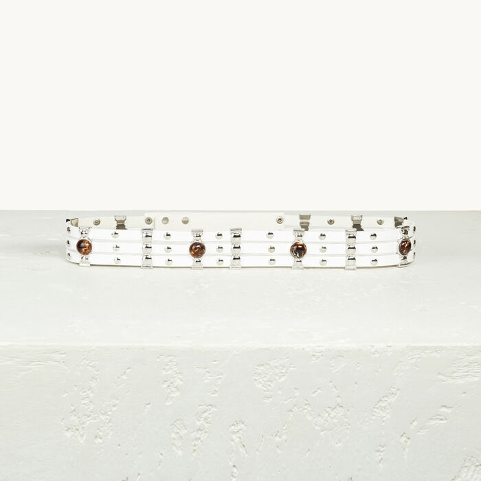 Leather belt with studs -  - MAJE