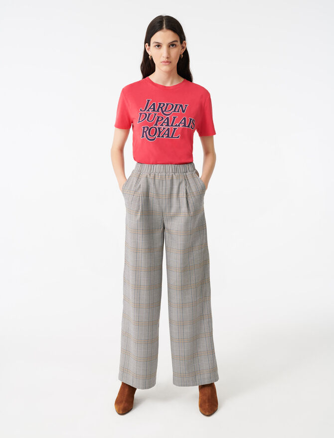 Checked elasticated trousers -  - MAJE