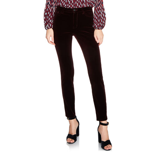 Velvet 5-pocket trouser : Trousers & Jeans color BORDEAUX