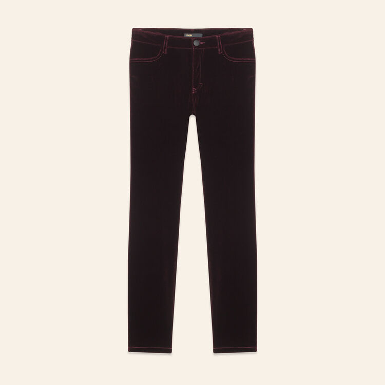 Velvet 5-pocket jeans : Trousers & Jeans color BORDEAUX