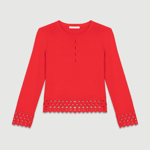 Jumper with openwork detail : Knitwear color ROUGE