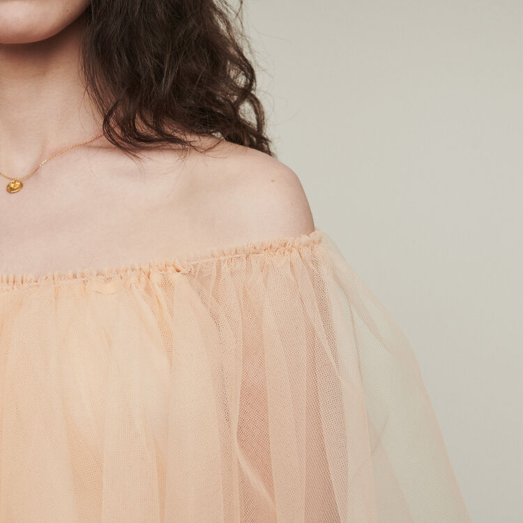 Bare-shouldered tulle dress : Dresses color Mandarine