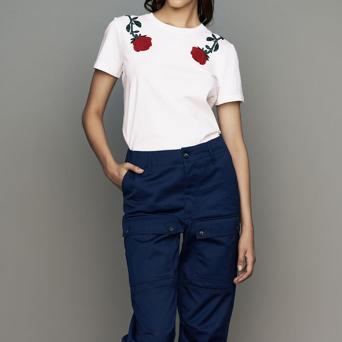 Cotton embroidered T-shirt : Ready to wear color White