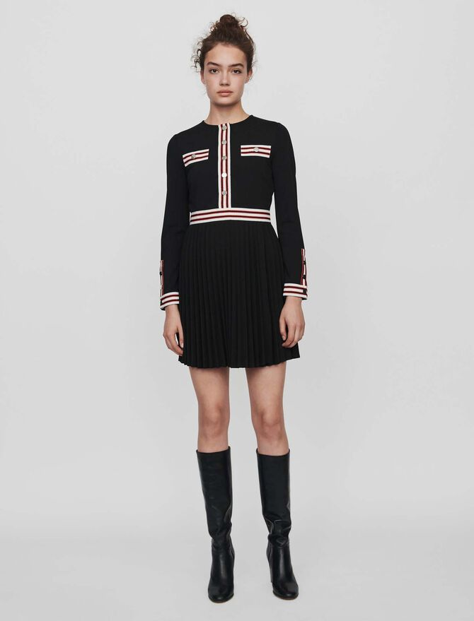 Pleated dress with contrasting stripes - Timeless gifts - MAJE