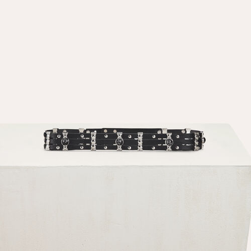 High-waisted leather belt with metal : Belts color Black 210