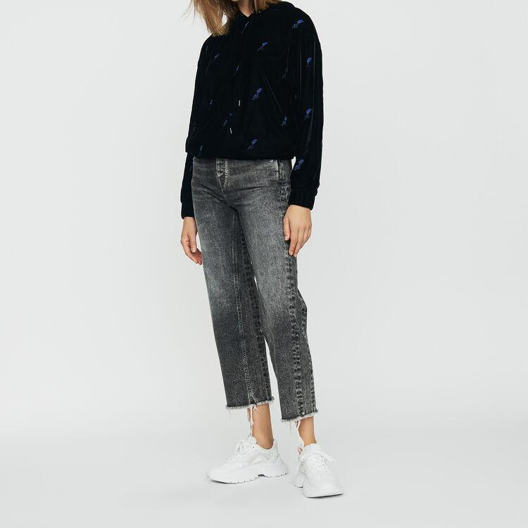 Hooded sweatshirt in velvet : Sweatshirts color Black 210
